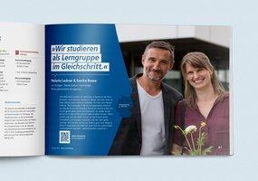 Die Doppelseite des Jahresberichts zeigt einen Kurzbericht über das Studium von zwei Studierenden.