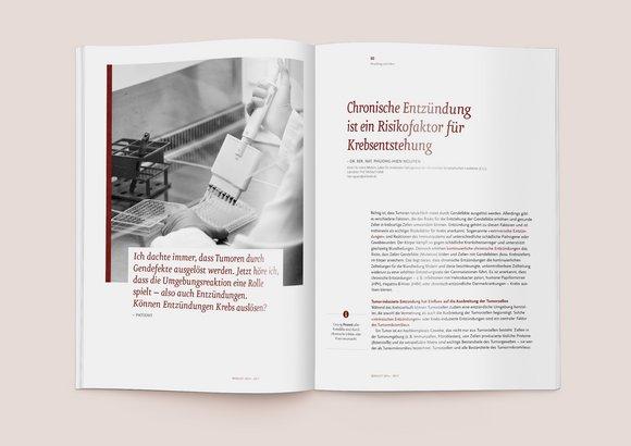 Auf der Doppelseite des Jahresberichtes leitet eine Fragestellung eines Patienten in Kombination mit einem Bildmotiv einen Artikel zu Chronischen Entzündungen ein.