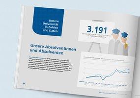 Der Kapiteleinstieg zu den Daten und Fakten der FernUni Hagen ist sichtbar und zeigt eine Infografiken zu den Studierenden.
