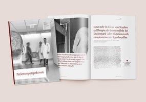 Das Cover des Jahresberichts lässt die Betrachter die beobachtende Perspektive der Patienten in der Klinik einnehmen.