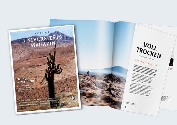 Die Ausgabe 13 des Unimagazins behandelt das Thema Forschung in der Wüste. Sowohl das Cover als auch eine Artikelstrecke machen die Wüste durch Fotos spürbar.