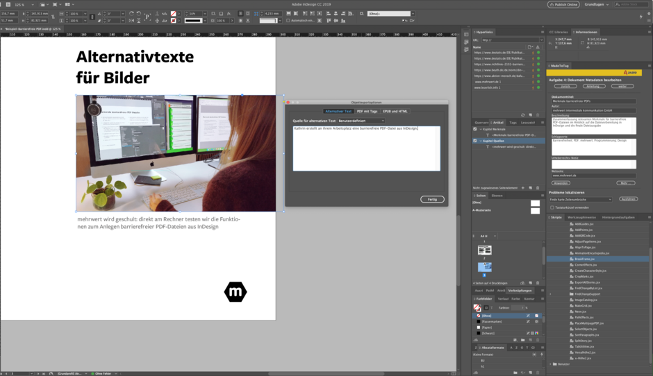 Screenshot von InDesign mit Beispiel zur Schulung für barrierefreie PDFs